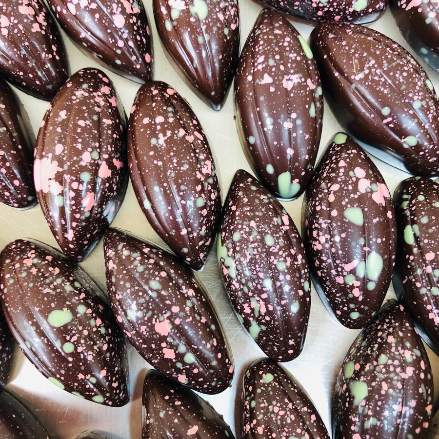 Raspberry, lime and cardamom chocolates