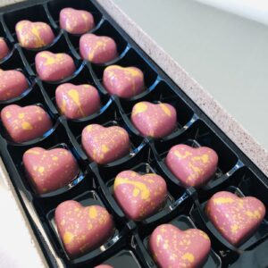 Raspberry Caramel Hearts