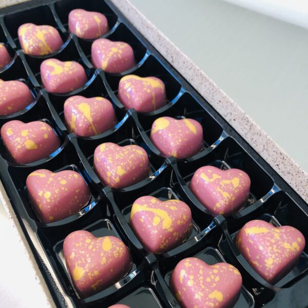 Raspberry Caramel Hearts